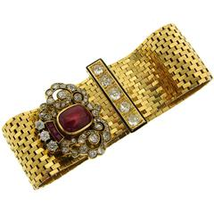 Van Cleef & Arpels Ruby Diamond Enamel Yellow Gold Buckle Ludo Bracelet 1940s