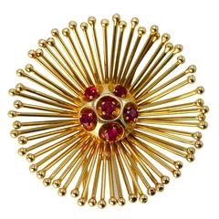 1960s Cartier Ruby and Gold Brooch