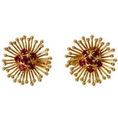 1960s Cartier Ruby Gold Earclips