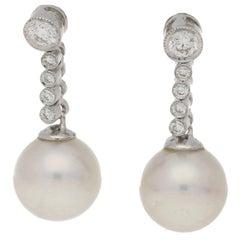 Pearl Diamond Drop Earrings in White Gold