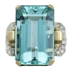 1950s 28.80 Carat Aquamarine and Diamond Yellow and White Gold Cocktail Ring