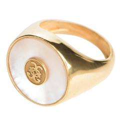 CdG Style Gold Mother-of-Pearl Gold Signet Ring Handmade in Italy