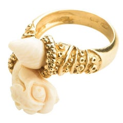 CdG Style Gold Ring Mythology Snake Hand-Carved Nut Ivory Made in Italy