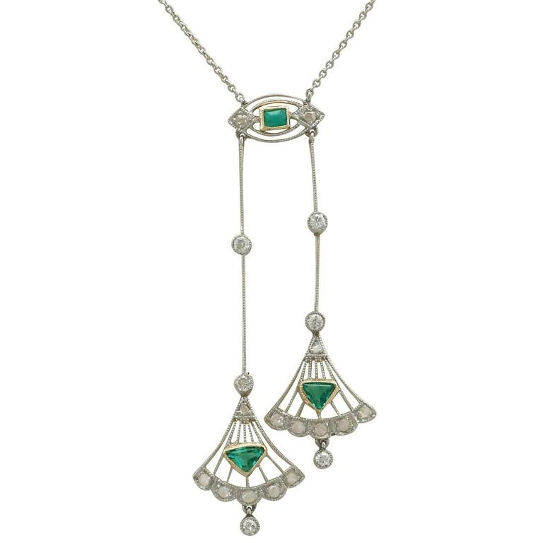 1920s Emerald and Diamond Yellow Gold Necklace