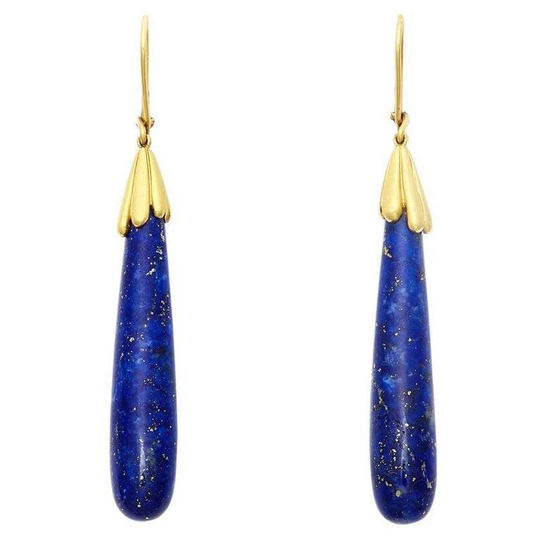 95ct Large Lapis Lazuli & 18kt Yellow Gold Dangle Earrings