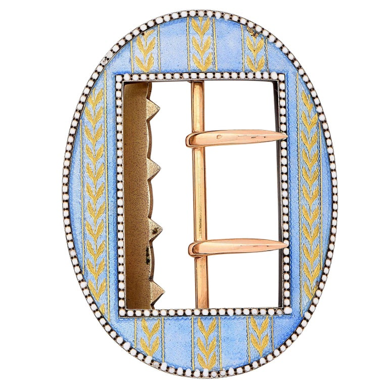 Belle Époque Cartier Paris Pale Blue Enamel Buckle