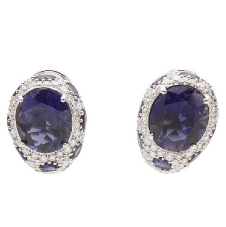 Asprey of London Iolite Diamond White Gold Earrings