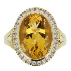 Vintage 6.10 Carat Citrine and Diamond Ring, circa 1960s