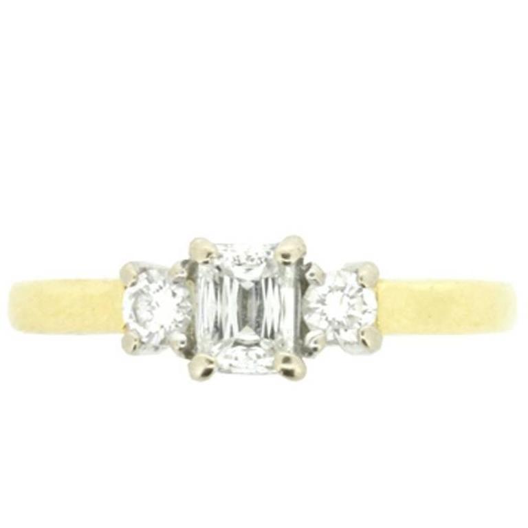Vintage Emerald and Round Brilliant Cut Three Stone Diamond Engagement Ring F