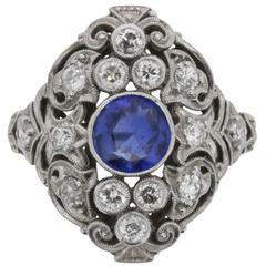 Late Art Deco Sapphire and Diamond Ring, circa 1930s