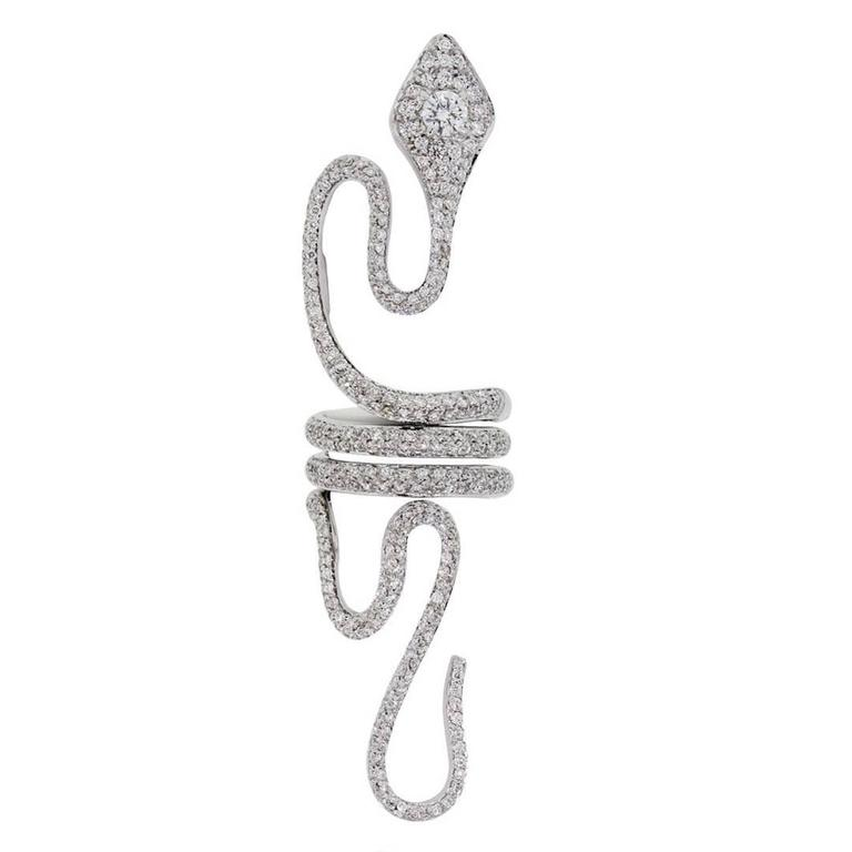 Paolo Piovan 3.50 Carat Diamond White Gold Elongated Snake Ring