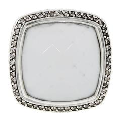 David Yurman White Agate Diamond Sterling Silver Ring