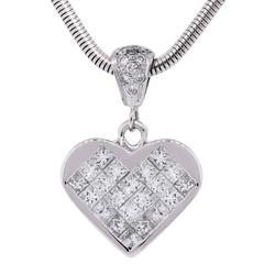 Diamond White Gold Invisible Set Heart Pendant and Snake Chain