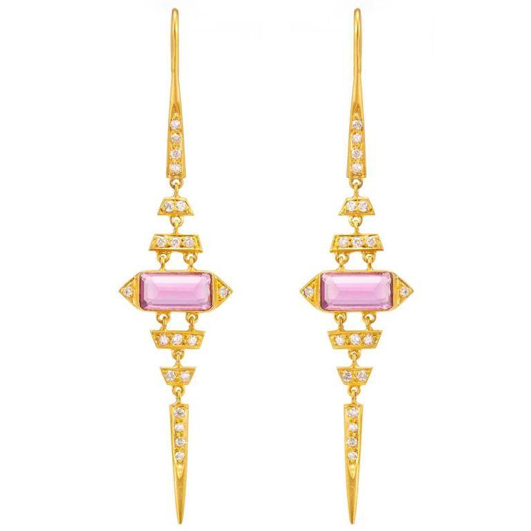 Lauren Harper .40 Carat Diamonds, Pink Tourmaline, Gold Earrings