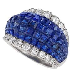Van Cleef & Arpels Mystery Set Sapphire Diamond and Platinum Ring