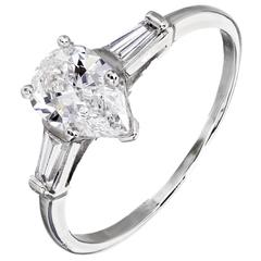 GIA Certified Pear Shape Diamond Three-Stone Platinum Engagement Ring