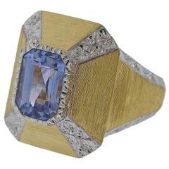 Buccellati  3.70 Carat Sapphire Gold Ring