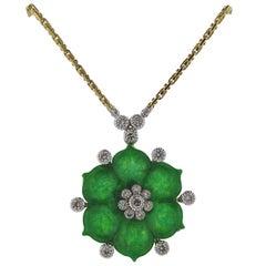 Buccellati Gold Diamond Jade Flower Pendant Necklace