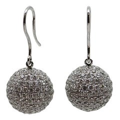 5.00 Carat Pave Diamond White Gold Earrings