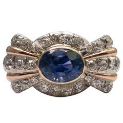 Certified No Heat Color Change Sapphire Diamond White Gold Cocktail Ring