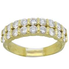 Yellow Gold Two Row Diamond Ring