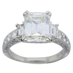 Certified Emerald Cut Diamond Engagement Ring