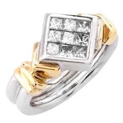 .60 Carat Princess Cut Diamond White and Yellow Gold Ring