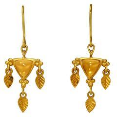 Crevoshay Handmade Opal Yellow Gold Earrings