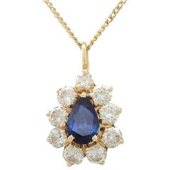 1990s French 1.60 Carat Sapphire and 1.42 Carat Diamond Yellow Gold Pendant