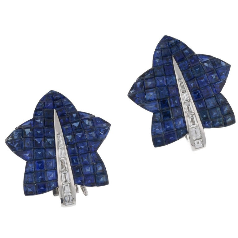 Invisibly Set Sapphire Maple Leaf Earrings