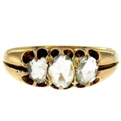 Georgian Diamond Gold Three-Stone Ring