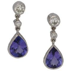Tanzanite Diamond Drop Earrings in White Gold
