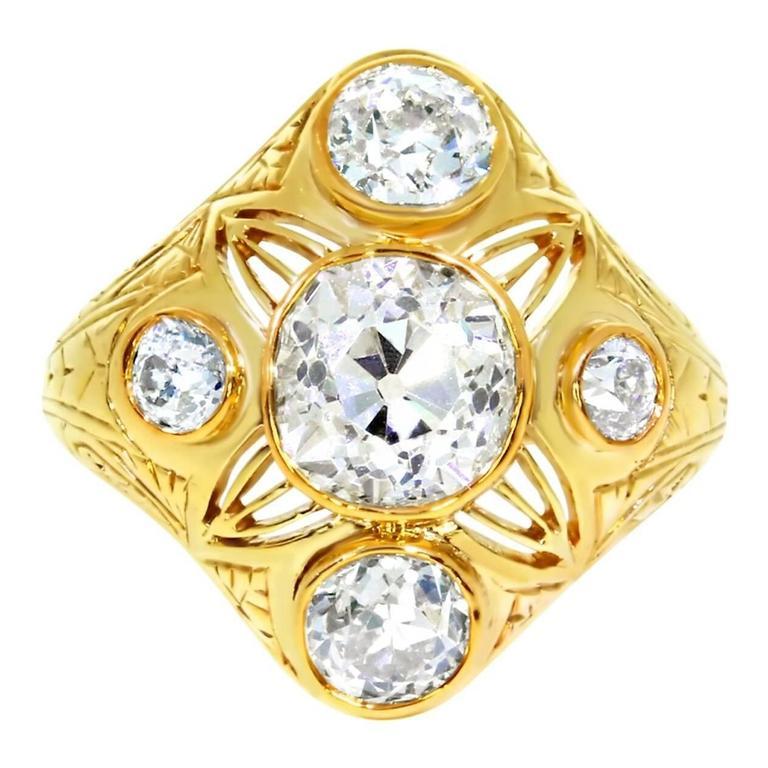 Victorian Five-Stone Old Cut Diamond Ring