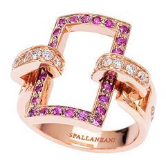 18 kt Rose Gold Pink Sapphires White Diamonds Manette Rectangular Ring (14/54)