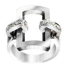 18 Carat White Gold with .28 White Diamonds Manette Rectangular Ring (14/54)