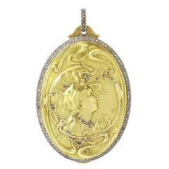 Art Nouveau Gold Diamond Locket