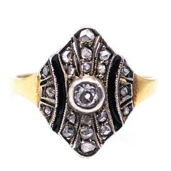 Art Deco Diamond Enamel Ring