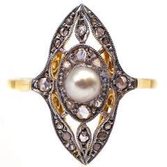 Edwardian Pearl Diamond Ring