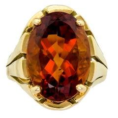 Vintage 18 Karat Yellow Gold and Cirtine Ring