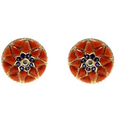 Diamonds,Blue Sapphire Flowers, Red Coral Flowers, Rose Gold Clip-on Earrings