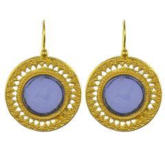 Italian Blue Intaglio Vermeil Drop Earrings