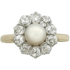 1920s Antique Cultured Pearl and 1.10 Carat Diamond Yellow Gold Cluster Ring