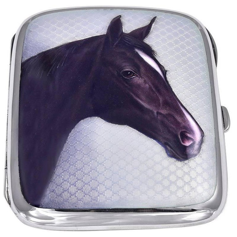 Antique Sterling and Enamel Horse Case