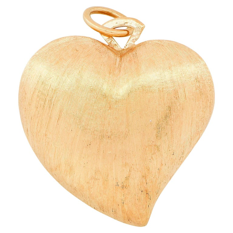 Brushed Yellow Gold Heart Shape Pendant
