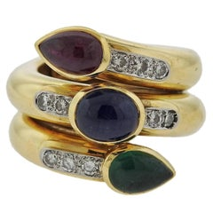 David Webb Gold Platinum Diamond Ruby Sapphire Emerald Ring