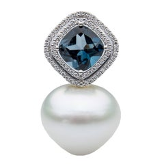 Lust Pearls London Blue Topaz Pendant 0.30 Carat Diamonds South Sea Pearl