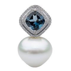 Lust Pearls London Blue Topaz Pendant 0.30 Carat Diamonds South Sea Pearl