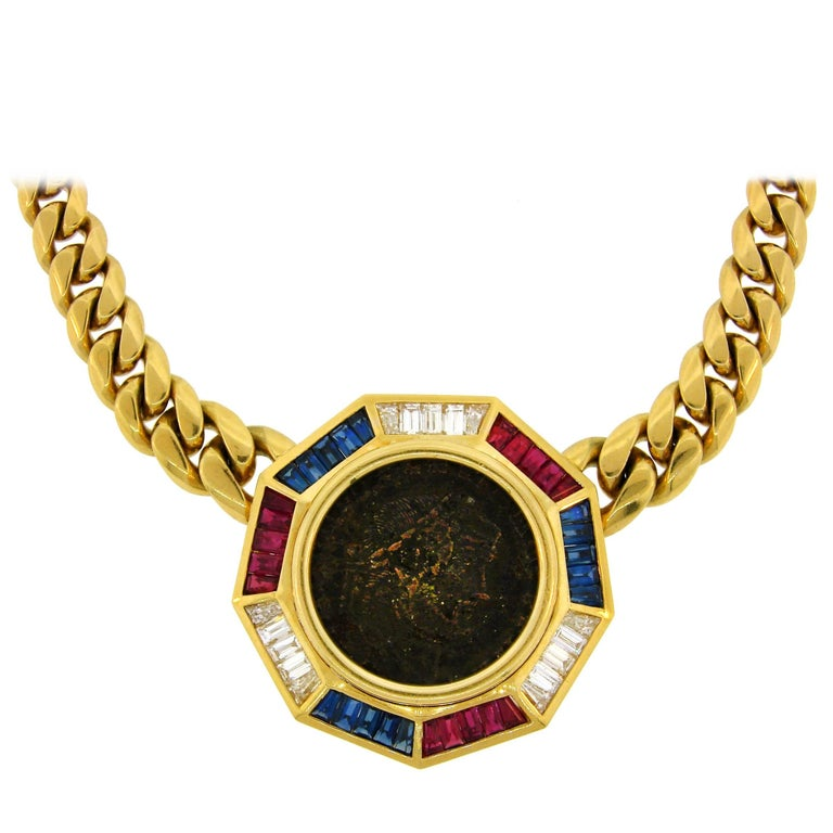 Bulgari Diamond Ruby Sapphire Yellow Gold Coin Pendant Necklace