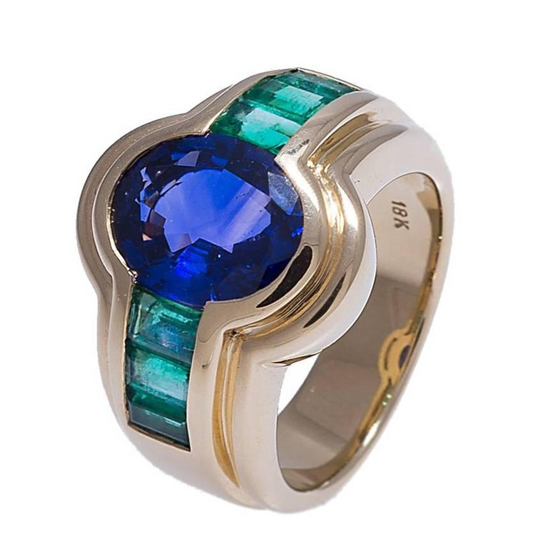 blue sapphire and emerald ring for sale at 1stdibs