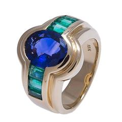 Blue Sapphire and Emerald Ring